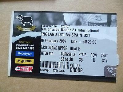 Ticket U-21 International Match- ENGLAND v SPAIN, 06 February 2007