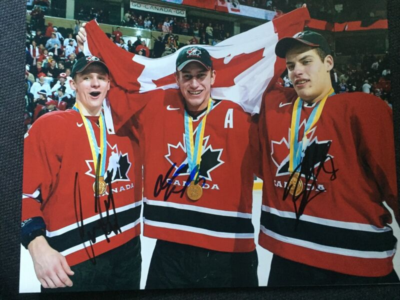 Team Canada Gold Corey Perry Getzlaf Carter Autographed Signed 11x14 Photo COA