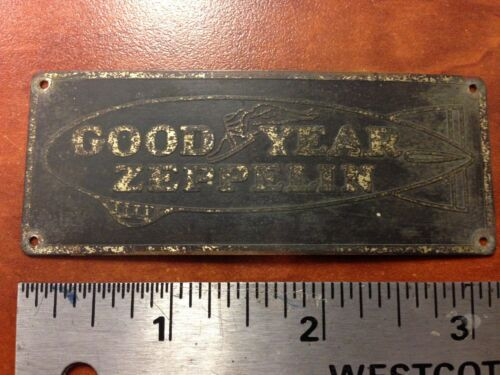 Original Goodyear Zeppelin Airship Blimp logo badge brass tag art deco SCTA
