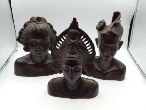 Lot of 3 Antique Indonesian Hand Carved Wood Statues - Male & Female Busts BE184