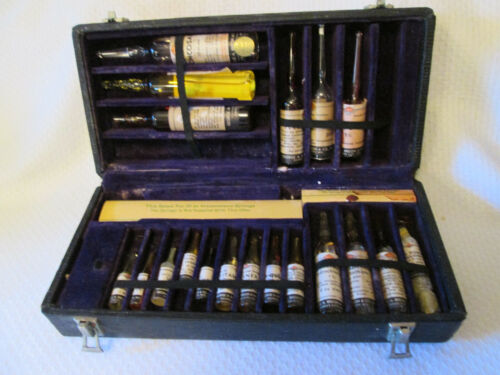 Antique Medical Apothecary Doctors Kit With Vials of Medicine Pharmacy Vials