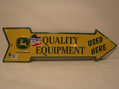 "John Deere Embossed Metal/Tin Sign ""Quality Equipment Used Here"" Collectible New"