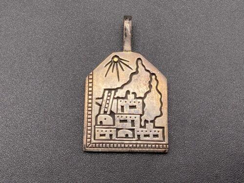 Vintage Kewa Joseph De Vern Coriz Sterling Silver 14K Gold Pueblo Pendant