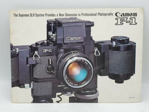 1970 Canon F-1 SLR Camera Lens System Photography Advertising Brochure Guide