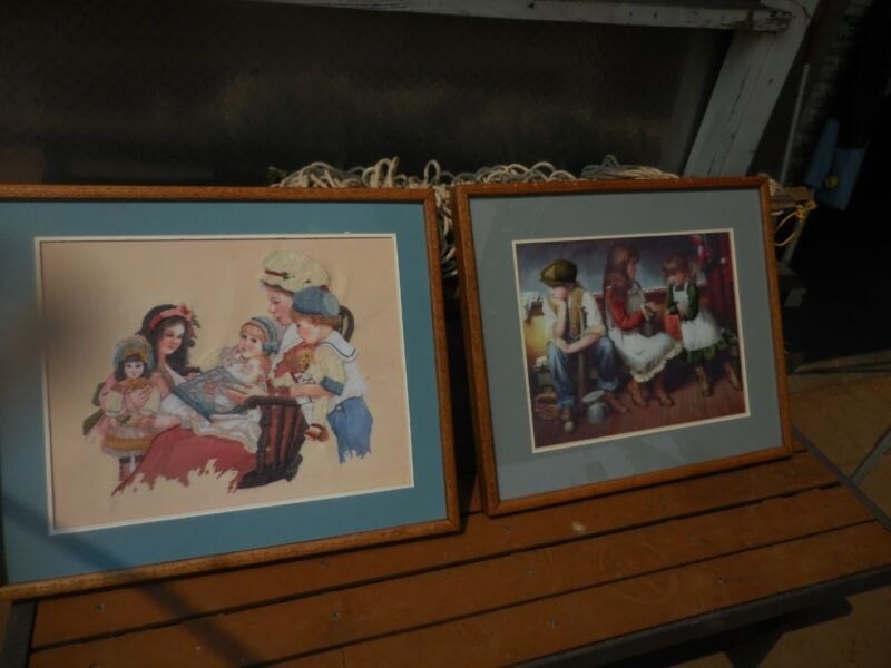2 Vintage 3D Stitched framed Art of Sad Boy with Girls at Play by Jim Daly 1985