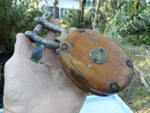 Antique Wood  Pulley Block