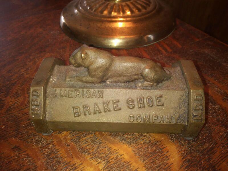 Antique Cast Brass American Brake Shoe Company Desk Paperweight
