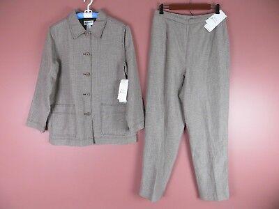 ST00095- NWT PENDLETON Silk Linen Pant Suit Brown White Micro Plaids Sz 12 $286