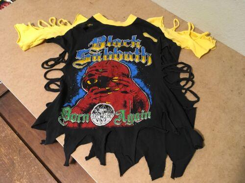 Thrashed BLACK SABBATH Born Again 1980s T Shirt (Jersey) Rare Graphics woman