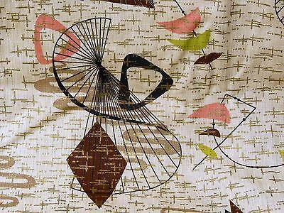 VTG MCM Mid Century Atomic Boomerang GOLD Barkcloth Fabric Curtain Panel #1