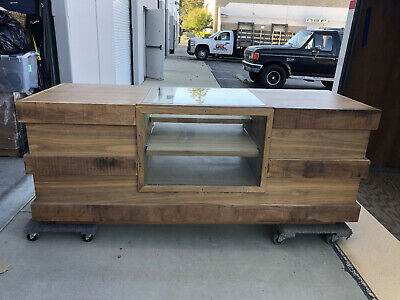 Custom Made Reclaimed Wood Reception Display Cabinet