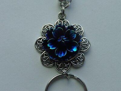 IRIDESCENT MIDNIGHT BLUE FLOWER PENDANT BEADED LANYARD ID BADGE HOLDER NECKLACE  Badge Holder Lanyard Beaded Necklace