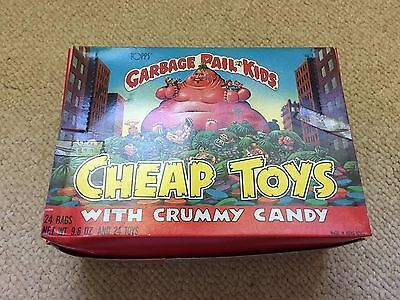 1986 Garbage Pail Kids Cheap Toys w/ Crummy Candy RARE Box, 24 UNOPENED BAGS