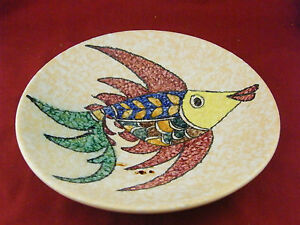 Assiette murale en c ramique d cor de poisson sign e jalou for Plaque decorative murale
