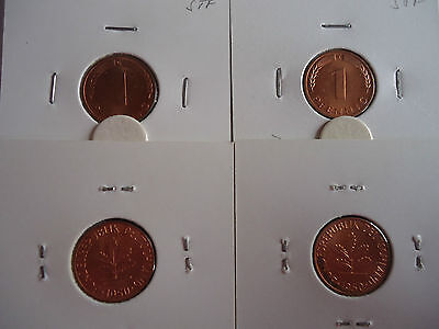4x 1 Pfennig 1973 DFGJ bankfrisch