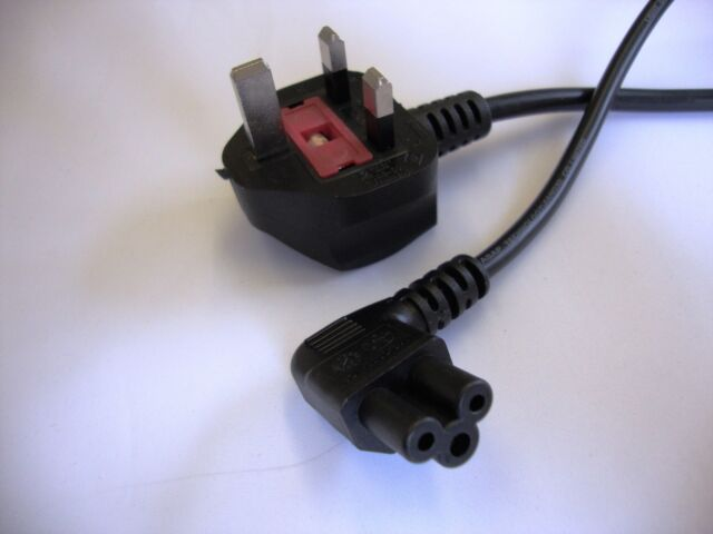 UK mains plug black power cable to right angle IEC C5 cloverleaf