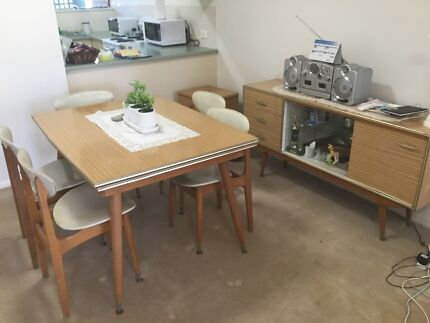 Retro Extendable Dining Table And Matching Buffet Display Cabinet