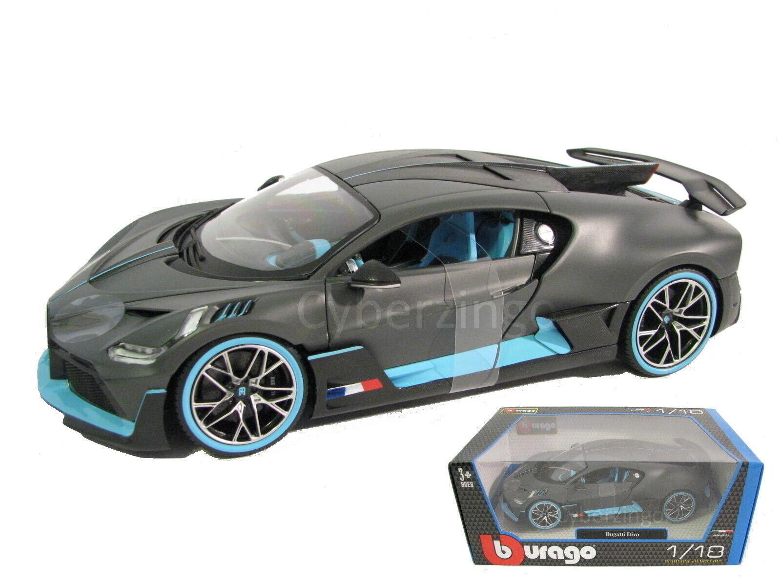 BUGATTI DIVO MATT GRAY WITH BLUE ACCENTS 1//18 DIECAST MODEL RACE CAR NEW IN BOX