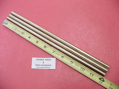 3 Pieces 38 C360 Brass Solid Round Rod 12 Long New Lathe Bar Stock .375