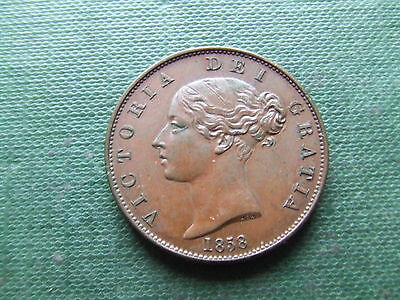 QUEEN VICTORIA.    1858 OVER 6, HALFPENNY.   RARE.   MINT CONDITION..