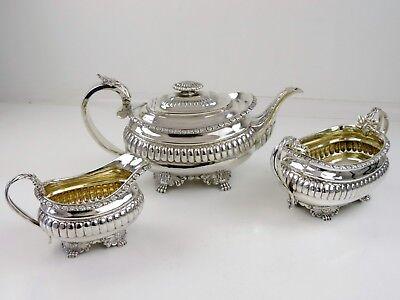 Outstanding Georgian SILVER 3 piece TEA SERVICE London 1817 Angell 1175g teaset