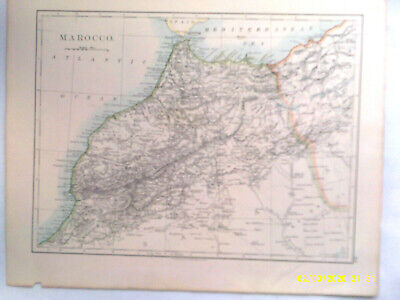 Double-sided Antique Map.MAROCCO  /  LOWER EGYPT, SINAI, etc. 1895. VG.