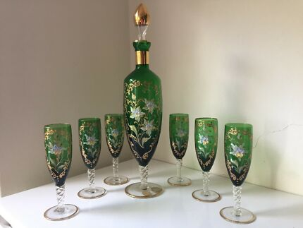 Italian hand blown and decorated glass decanter and glasses set