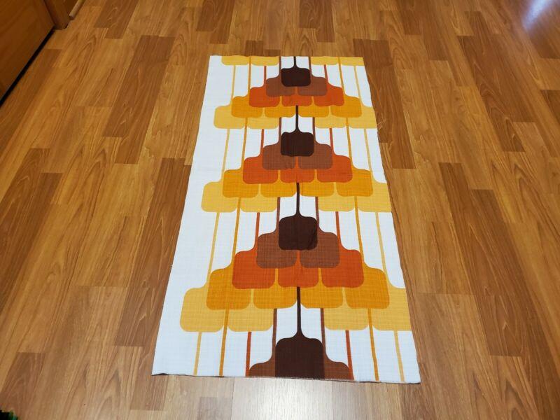 Awesome RARE Vintage Mid Century retro 70s yel brn square pyramids fabric! LOOK!