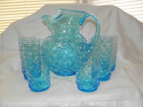 MURANO Bubble Glass Light Blue Ice Lip Pitcher & Glass Set - Italy BEAUTIFUL!!!