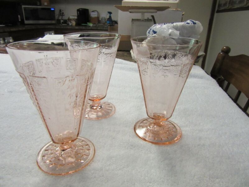 Princess depression glass pink tumblers footed 5 1/2 inches 10 ounces