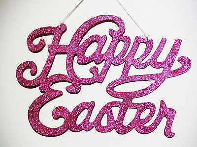 Easter Sign Decoration Happy Easter Pink Glittered Large Happy Easter Sign