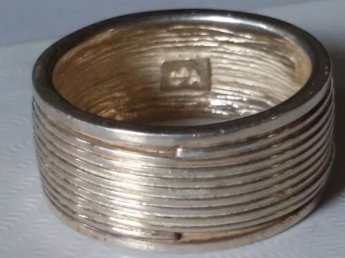 Sterling Silver Cigar Band Style Ring, Coil Around Band, Stamp925 & Maker's Mark