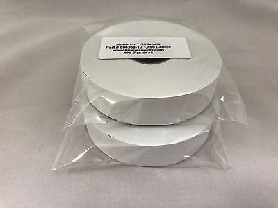 2 Rolls Genuine Monarch Paxar 1136 White Labels 000305 Ff-312