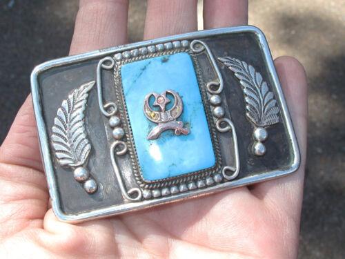 Vintage Sterling & Turquoise Navajo Belt Buckle, w/Shriners Symbol
