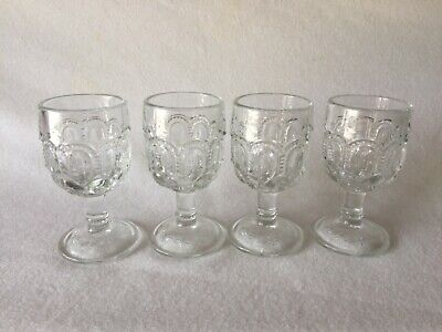 4l Crystal (4 L.E. Smith CRYSTAL - CLEAR MOON & STAR Glass LOW WINE GOBLETS Free U.S. Ship)