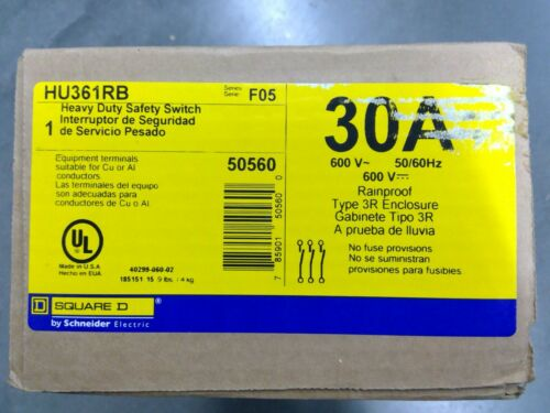Square D HU361RB 3 Pole 30A 600V Non-Fusible Safety Switch **Free Shipping**