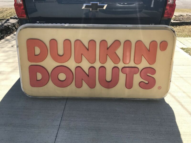 Original Dunkin Donuts Sign Approximately 6 Foot Long By 37 Inches Tall