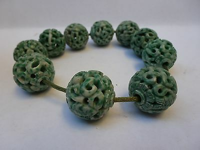Chinese Carved Turquois Serpentine Bead 22mm