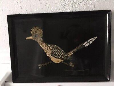 (Couroc of Monterey ROADRUNNER Bird Tray Rectangular Black Inlaid Wood Brass)