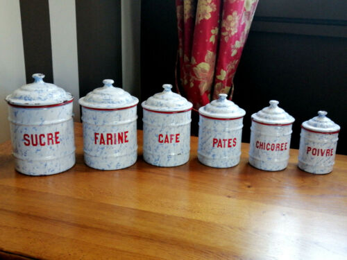 Rare Antique Graniteware French Six Enameled CANISTERS SET -SNOW ON THE MOUNTAIN
