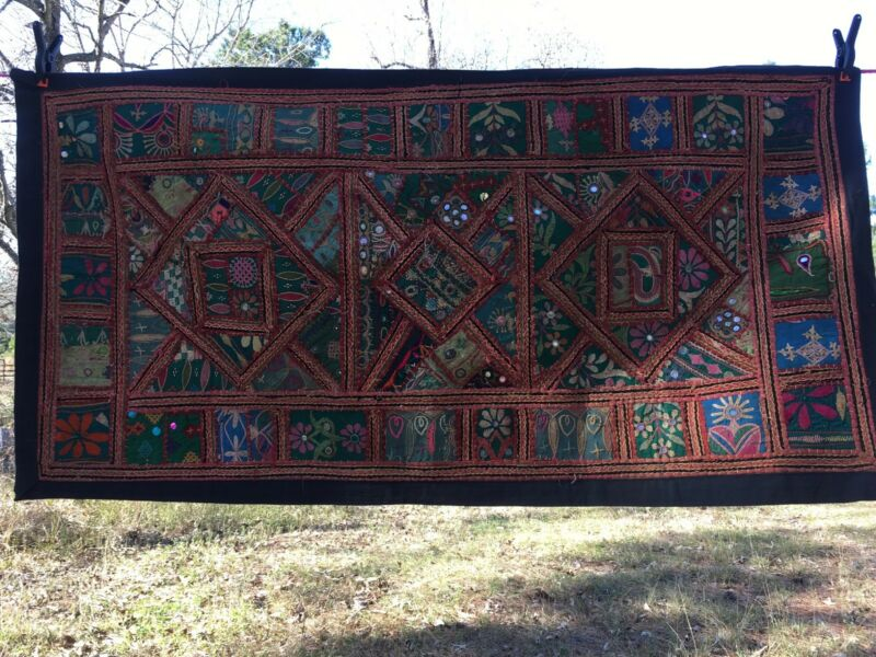 Rare Heavily Embroidered 19th Century Ceremonial Fabric Patchwork Wall Hanging