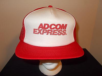 Vtg 1980S Adcom Express Trucking Company Logistics Freight Trucker Hat Sku10