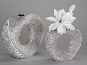 Extravagante Deko Vase Blumenvase aus Keramik Mosaik silber 18 cm ...