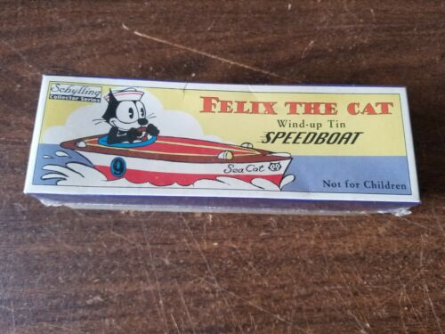 "Vintage Collectible Schylling ""Felix the Cat""  Wind-Up Metal Tin Speedboat"
