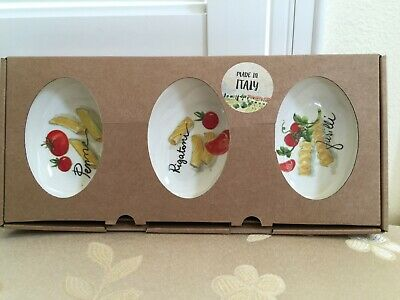 EFFETTI D' Arte ITALY 3pc Ceramic Dipping Dish Set With Pastas Hand Made NEW Box