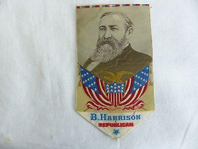 old political stevengraph silk campaign ribbon 1888 Benjamin harrison republican