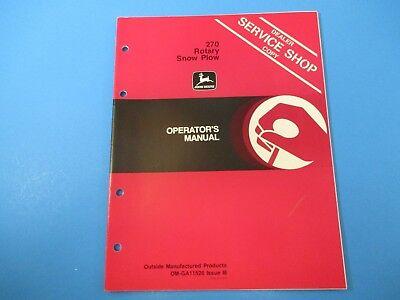 John Deere Operators Manual Om-ga11526 270 Rotary Snow Plow Issue I8 M5037