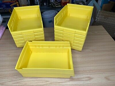 12 New Yellow Parts Storage Bins - Hooks To Peg Tool Board - Workbench Pegboard