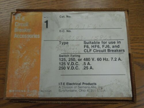 ITE/Siemens C01JF64 Bell Alarm & 1- SPDT Auxiliary for F Frame Breakers Surplus