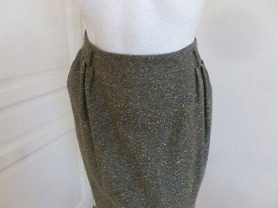 Tailleur jupe + veste tweed laine chinee vert bronze t 44 tres bon etat